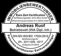 Zertifizierungsstempel für Andreas Ruof zum EU-zertifizierten Immobiliensachverständigen