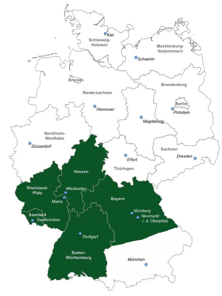 Karte mit den Einsatzgebiete der Immobilienbewertung Ruof im Saarland mit Saarbrücken, Hessen mit Frankfurt am Main, Bayern mit Nürnberg, Neumarkt in der Oberpfalz und Umgebung, sowie Teilen von Rheinland-Pfalz und Baden-Württemberg